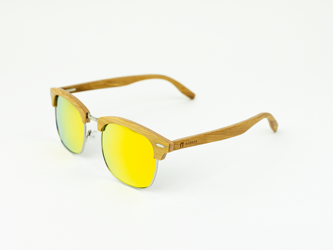 Clubmaster - Natural front / Orange revo lens - Mabboo