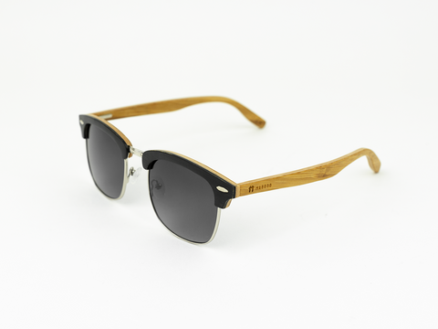 Clubmaster - Black stain front / Gradient smoke lens - Mabboo