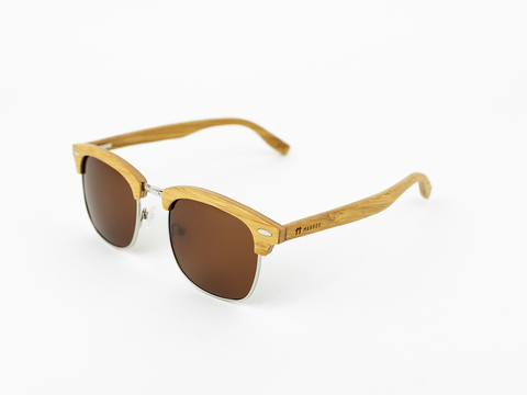 Bamboo Clothing & Accessories by Mabboo, Clubmaster - Natural front / Brown lens, Sunglasses