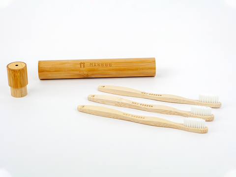 Adults Bamboo Toothbrush - Curved Handle White Bristle