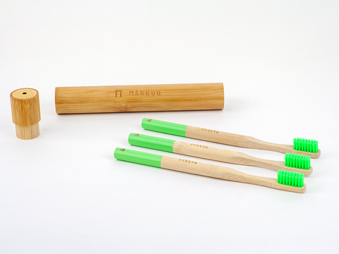 Adults Bamboo Toothbrush - Round Green
