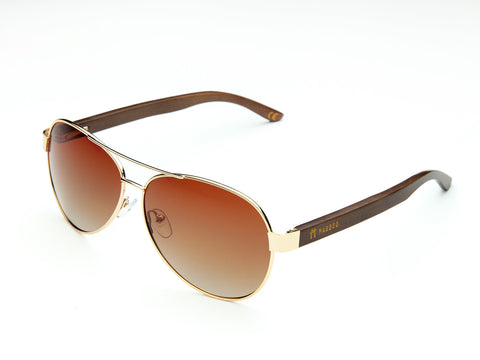 Bamboo Clothing & Accessories by Mabboo, Aviator - Gold Gradient Brown Lens, Sunglasses