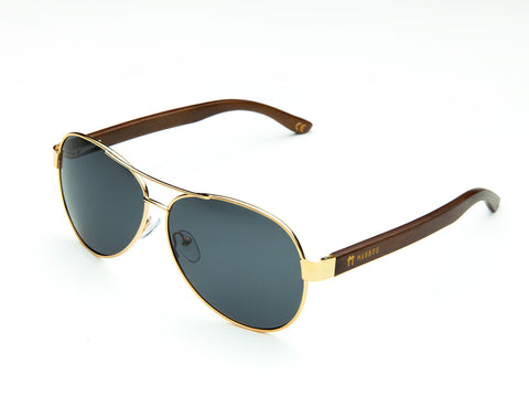 Aviator - Gold Smoke Lens, Sunglasses, Mabboo, bamboo, sustainable, bristol, eco, eco-friendly, wooden, uk