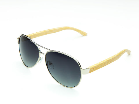 Bamboo Clothing & Accessories by Mabboo, Aviator - Shiny Nickel Gradient Smoke Lens, Sunglasses