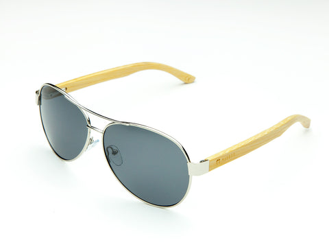 Bamboo Clothing & Accessories by Mabboo, Aviator - Shiny Nickel Smoke Lens, Sunglasses