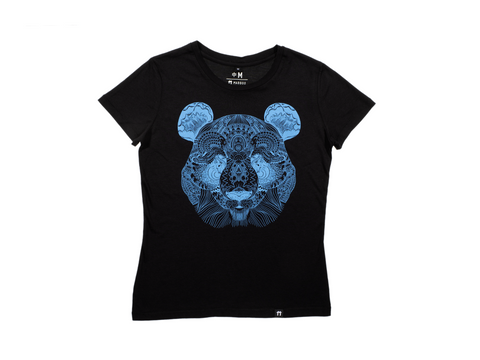 Bamboo Clothing & Accessories by Mabboo, Panda Face Black/Cyan - Jersey Sleeve Bamboo T-Shirt, WOMENS T-Shirt