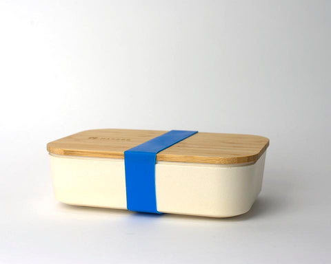 Bamboo Lunchboxes - Beige/Blue Strap