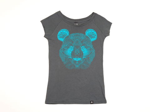 Bamboo Clothing & Accessories by Mabboo, Panda Face Charcoal/Cyan - Raglan Sleeve Bamboo T-Shirt, WOMENS T-Shirt
