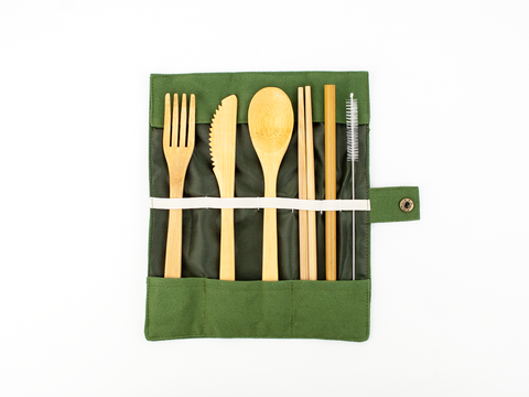 Bamboo Cutlery, Chopstick, Reusable Bamboo Straw Set - Mabboo