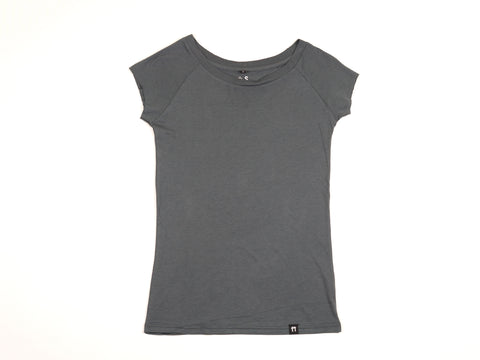 Bamboo Clothing & Accessories by Mabboo, Charcoal - Raglan Sleeve Bamboo T-Shirt, WOMENS T-Shirt