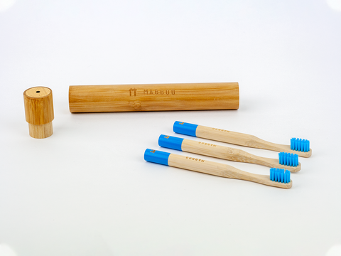 Kids Bamboo Toothbrush - Round Blue