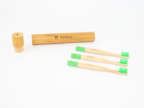 Kids Bamboo Toothbrush - Round Green - Mabboo