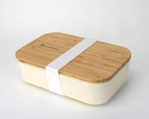 Bamboo Lunchboxes - Beige/White Strap