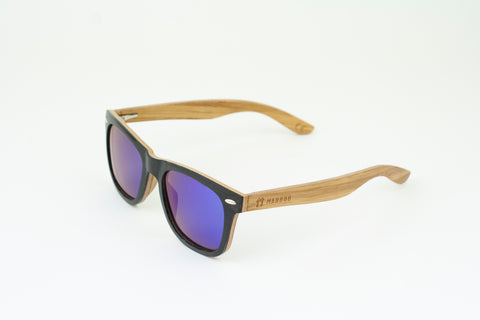 Bamboo Clothing & Accessories by Mabboo, Wayfarer - Black stain front / Blue revo lens, Sunglasses