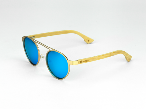 Metal Frame - Gold Blue Lens - Mabboo