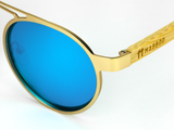 Bamboo Clothing & Accessories by Mabboo, Metal Frame - Gold Blue Lens, Sunglasses