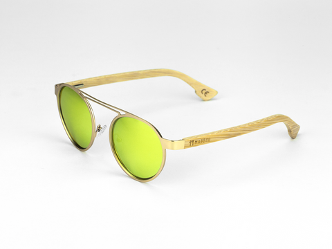 Metal Frame - Gold Yellow Lens, Sunglasses, Mabboo, bamboo, clothing, accessories, sustainable, bristol, eco, eco-friendly, wooden, uk