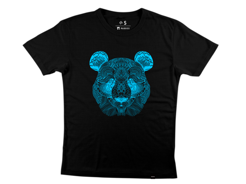 Bamboo Clothing & Accessories by Mabboo, Panda Face Black/Cyan Bamboo T-Shirt, MENS T-Shirt