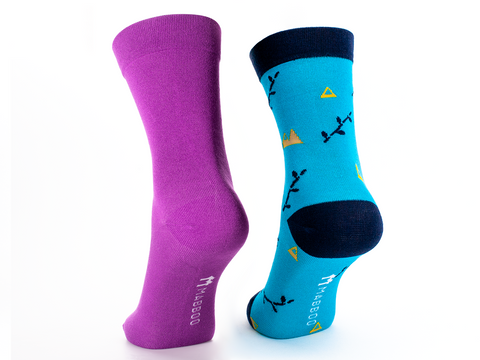 Bamboo Clothing & Accessories by Mabboo, Purple / Boo Mountain - Set of x2 Pairs Bamboo Socks, M_Socks