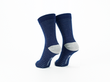 Bamboo Clothing & Accessories by Mabboo, Blue / Navy Fine Stripes - Set of x2 Pairs Bamboo Socks, M_Socks