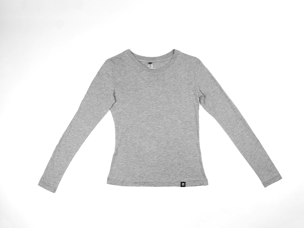 e38495a9125 Bamboo Clothing & Accessories by Mabboo, Grey Melange - Bamboo Long Sleeve  Top, WOMENS