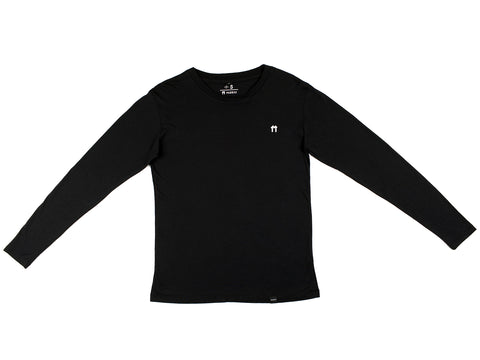 Bamboo Clothing & Accessories by Mabboo, Black Bamboo Long Sleeve Top with Logo, MENS T-Shirt