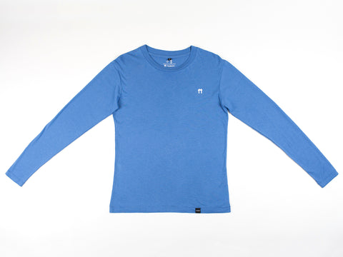 Bamboo Clothing & Accessories by Mabboo, Blue Logo Bamboo Long Sleeve Top, MENS T-Shirt