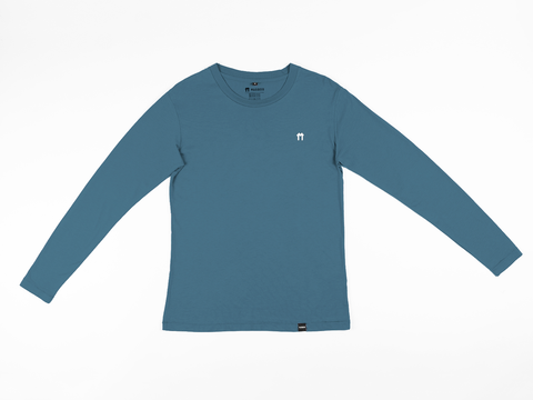 Bamboo Clothing & Accessories by Mabboo, Blue Bamboo Long Sleeve Top with logo, MENS T-Shirt