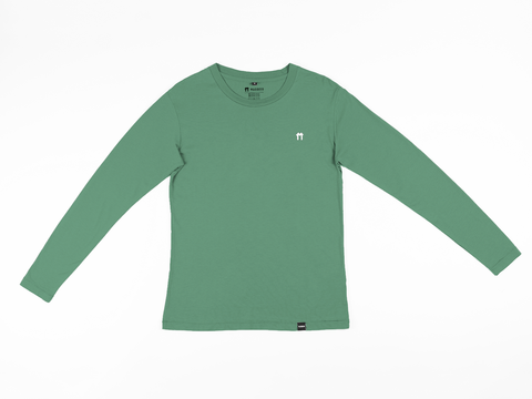 Bamboo Clothing & Accessories by Mabboo, Green Bamboo Long Sleeve Top with logo, MENS T-Shirt