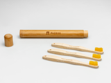 Kids Bamboo Toothbrush - Curved Brown Bristle - Mabboo