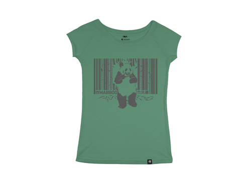 Bamboo Clothing & Accessories by Mabboo, Pandacode - Green Raglan Sleeve Bamboo T-Shirt, WOMENS T-Shirt