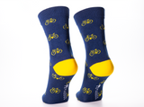 Bamboo Clothing & Accessories by Mabboo, Navy Yellow Bikes x1 Pair Bamboo Socks, M_Socks