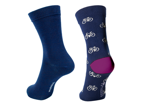 Bamboo Clothing & Accessories by Mabboo, Navy & Navy Bikes x2 Pairs Bamboo Socks, W_Socks
