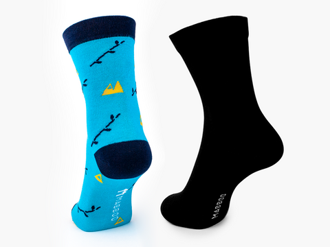 Boo mountain & Black x2 Pairs Bamboo Socks - Mabboo
