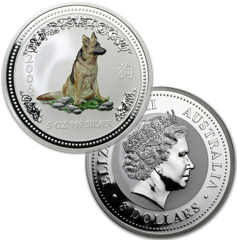 2006 Australia Lunar Dog 5 oz Colorized Silver Coin