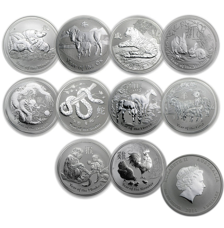 2008-2017 Australia Lunar Silver 2 oz Coins - Set of 10