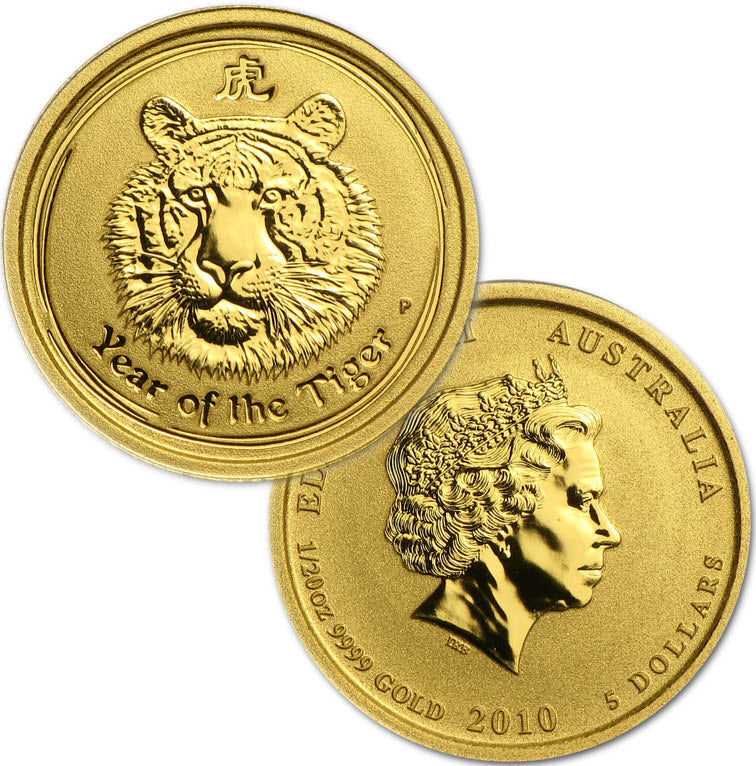 2010 Australia Lunar Tiger Gold 1/20 oz Coin