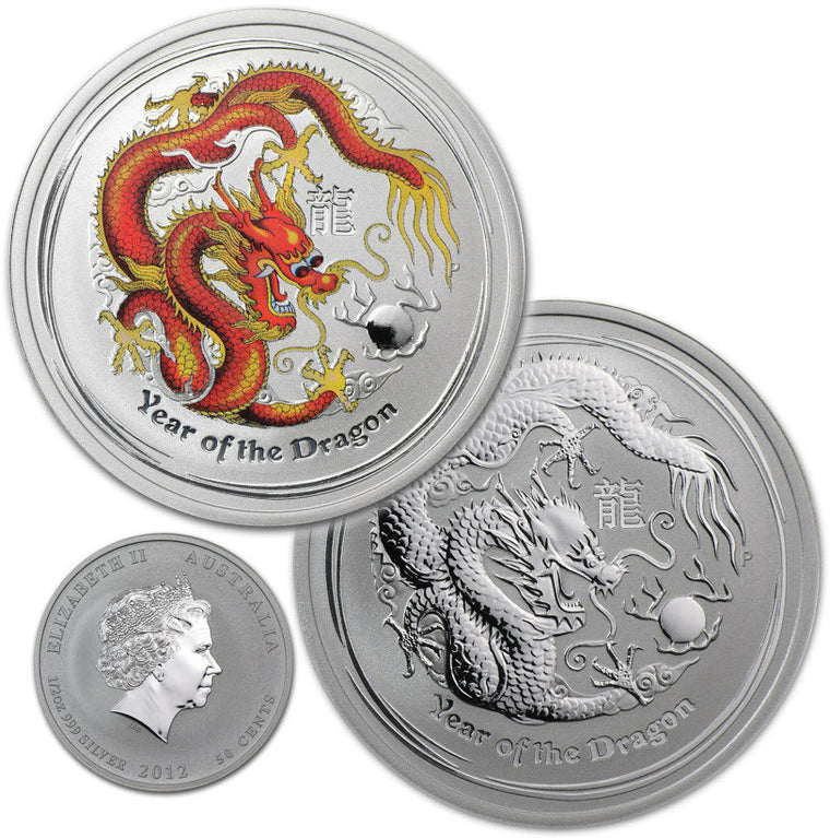 2012 Australia Lunar Dragon 0.5 oz Reverse Proof Bullion & Colorized Silver Coins