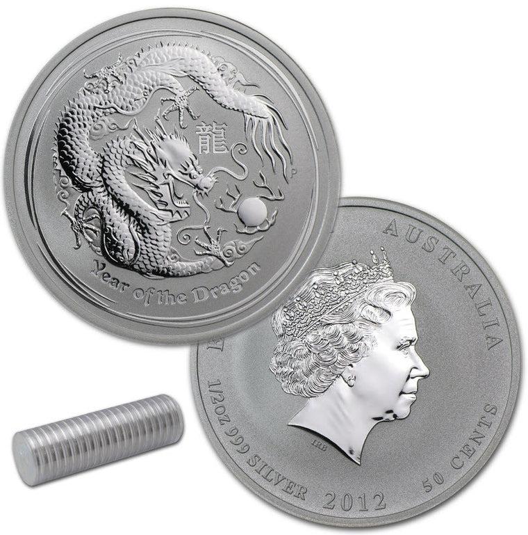 2012 Australia Lunar Dragon 0.5 oz Silver Coins - Roll of 20