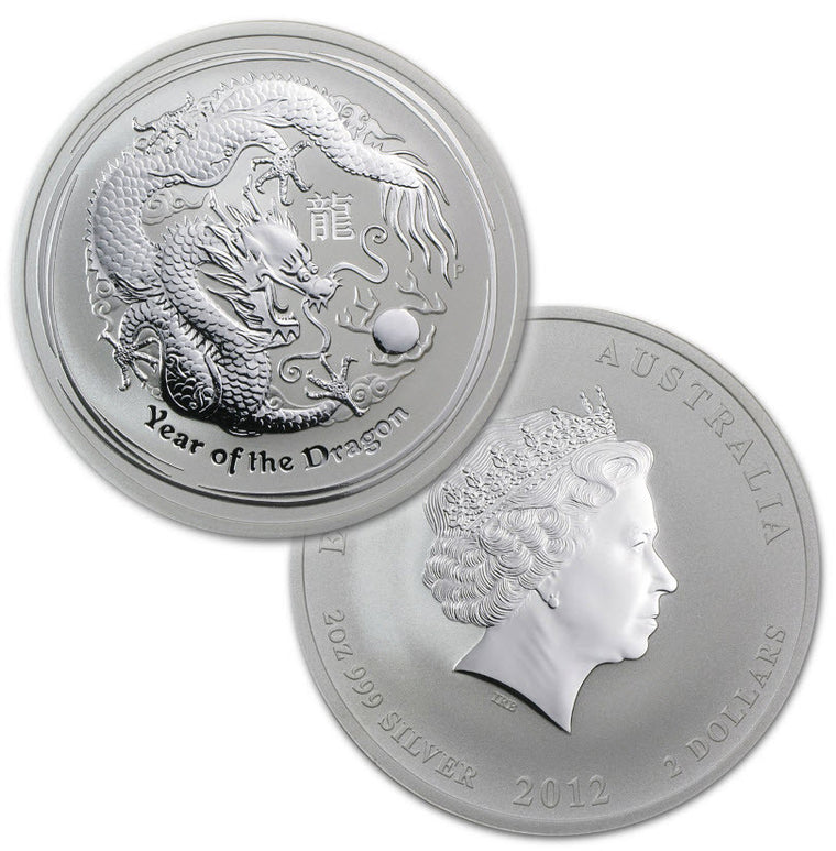 2012 Australia Lunar Dragon 2 oz Silver Coins - Roll of 5