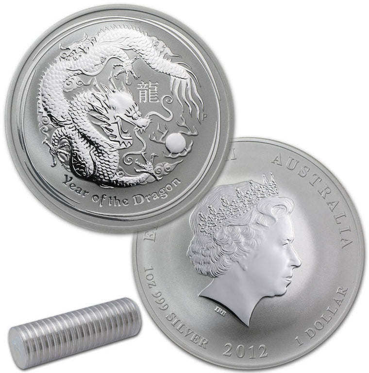 2012 Australia Lunar Dragon 1 oz Silver Coins - Roll of 20