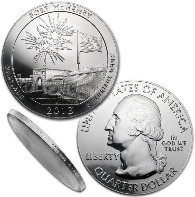 2013 Fort McHenry (MD) 5 oz Silver ATB Coin