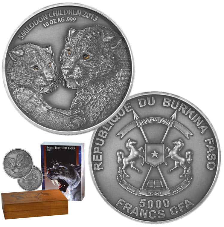 2013 Burkina Faso Saber Toothed Tiger 10 oz Silver Coin - Smilodon Children