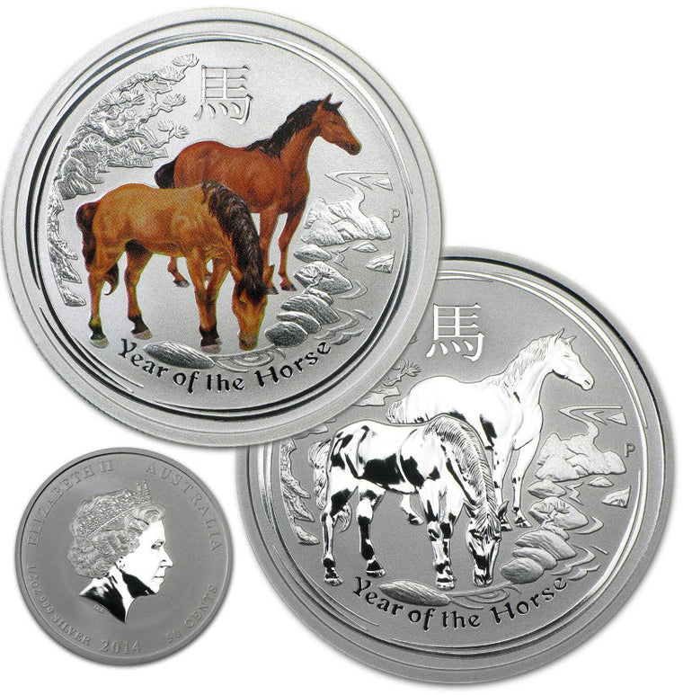 2014 Australia Lunar Horse 0.5 oz Reverse Proof Bullion & Colorized Silver Coins