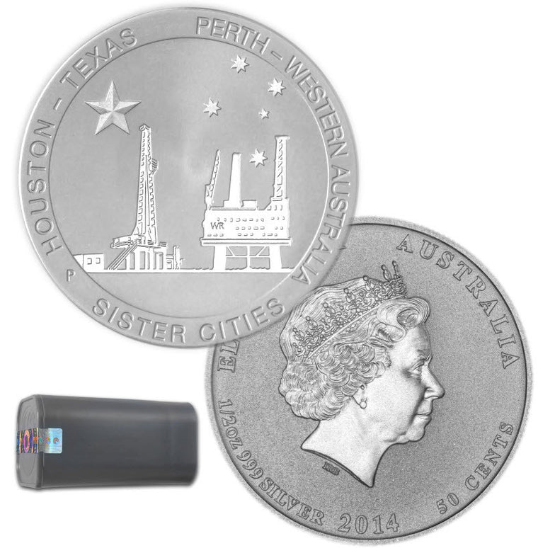 2014 Houston-Perth Sister City Oil Rigs 0.5 oz Silver Coins - Roll of 25