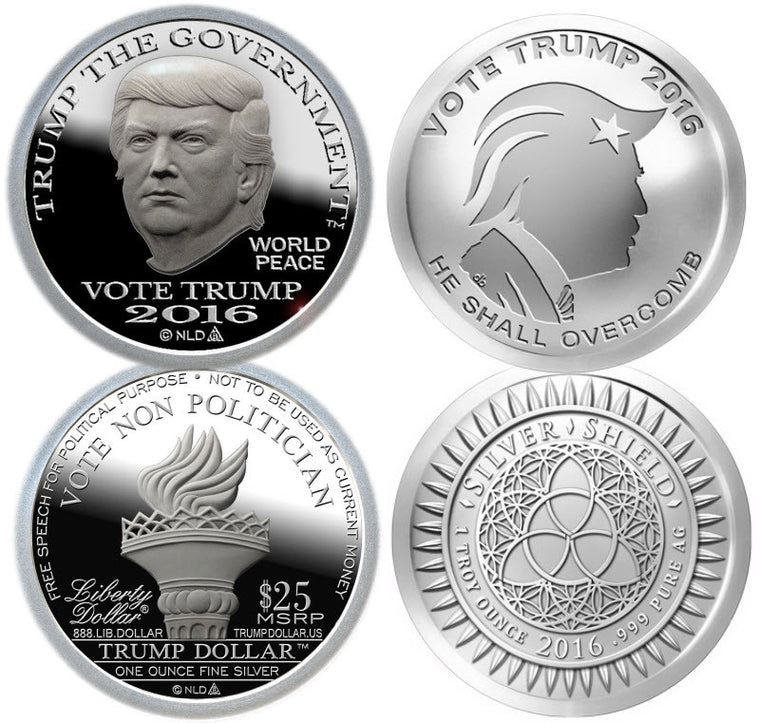 2016 Trump Proof-Like Silver Dollar & Silver Shield Vote Trump Rounds