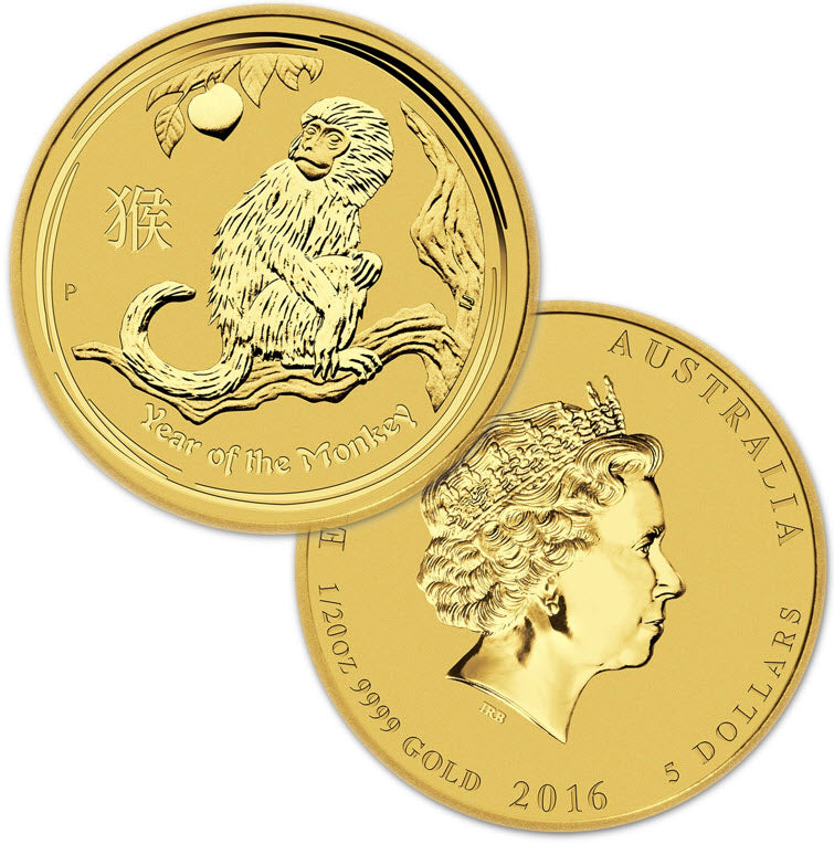 2016 Australia Lunar Monkey Gold 1/20 oz Coin