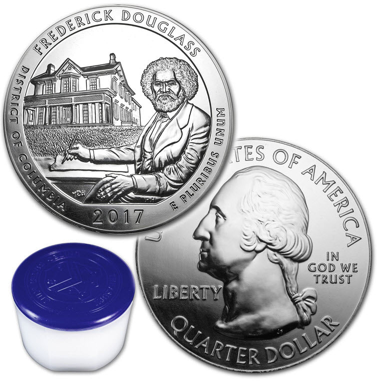 2017 Frederick Douglass (DC) 5 oz Silver ATB -- Roll of 10 Coins