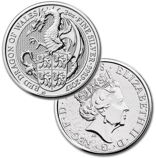 Queen/'s Beast The Lion 2016 Britain 2 oz Silver Coin IN CAPSULE