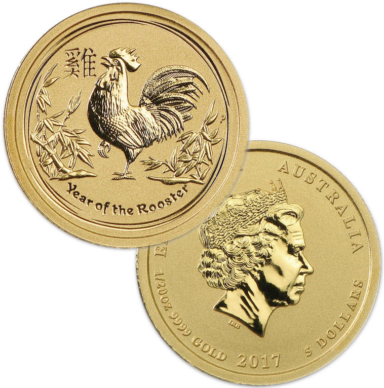 2017 Australia Lunar Rooster Gold 1/20 oz Coin
